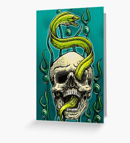 Old School Tattoo Skull and Moray Greeting Card