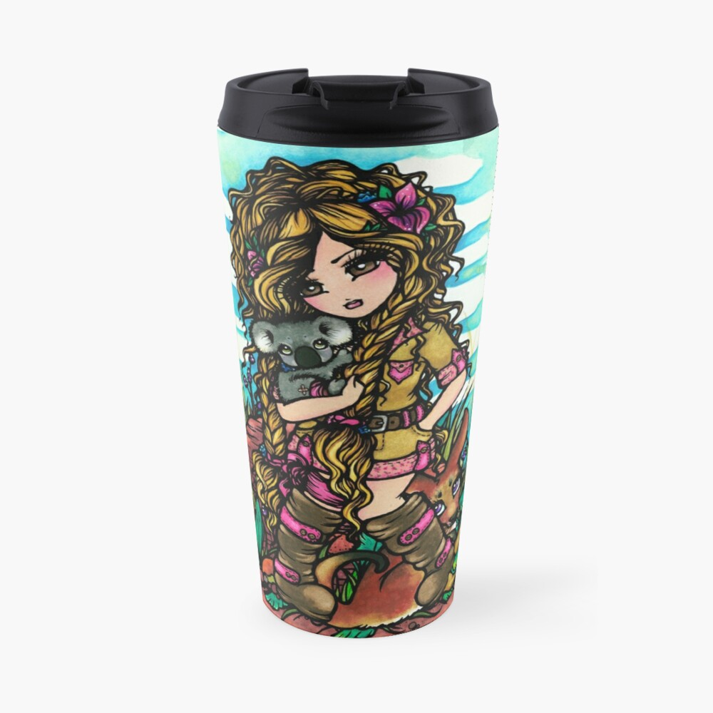 Aussie Girl with Kangaroo and Koala Bear Australia Art by Hannah Lynn Travel Mug