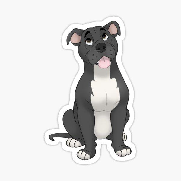 Black pit bull illustration Sticker