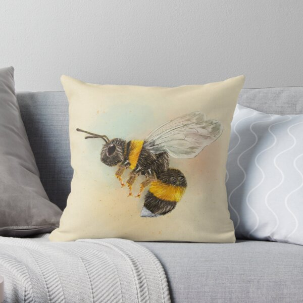 Bumble Bee-Square on Cream (PCD3148) Throw Pillow