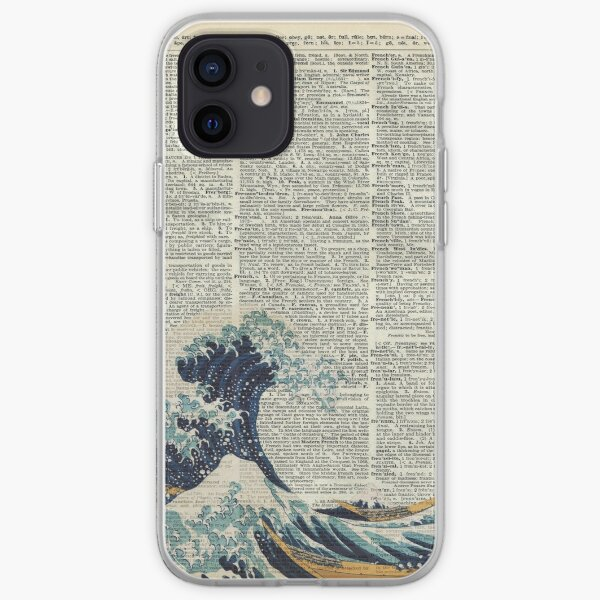 Dictionary Art - The Great Wave off Kanagawa, Sea, Waves iPhone Soft Case