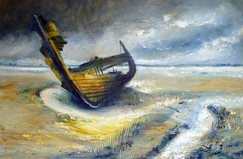 Wreck at Fleetwood Marshes by Sue Nichol