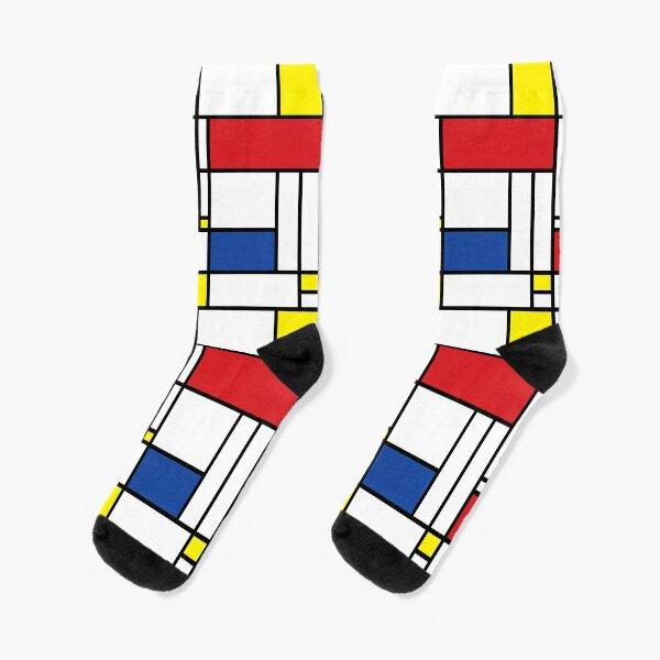 Mondrian Minimalist De Stijl Modern Art © fatfatin Socks
