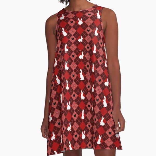 Red Argyle White Bunny Love A-Line Dress