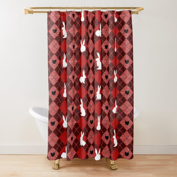 Red Argyle White Bunny Love Shower Curtain