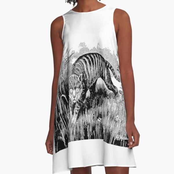 New Zealand History   The slinking form of a large grey cat. A-Line Dress