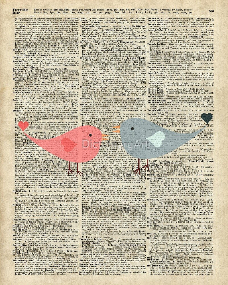 Little Birds Love Over Old Dictionary Page by DictionaryArt