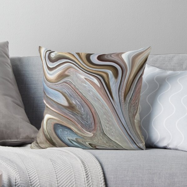 cool Abstract neutral Chocolate brown tan swirls pattern Throw Pillow
