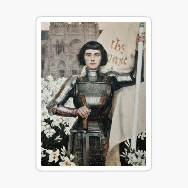 Combative Joan of Arc in Armor Painting Sticker