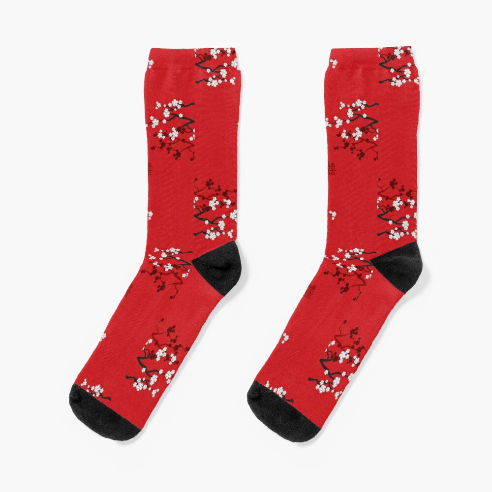 White Oriental Cherry Blossoms on Red and Chinese Wedding Double Happiness | Japanese Sakura © fatfatin  Socks
