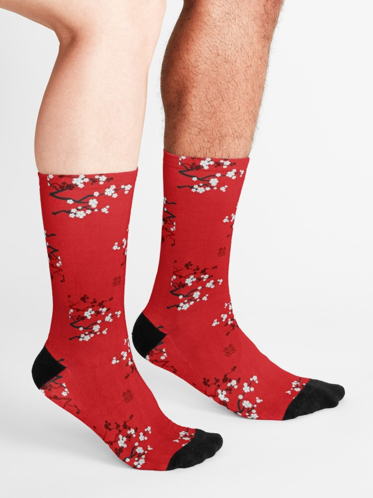 Alternate view of White Oriental Cherry Blossoms on Red and Chinese Wedding Double Happiness | Japanese Sakura © fatfatin  Socks