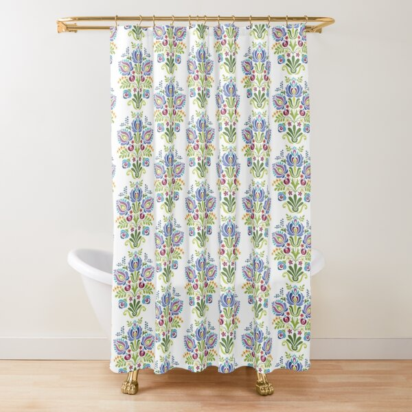 Hungarian Folk Design Violet Shower Curtain