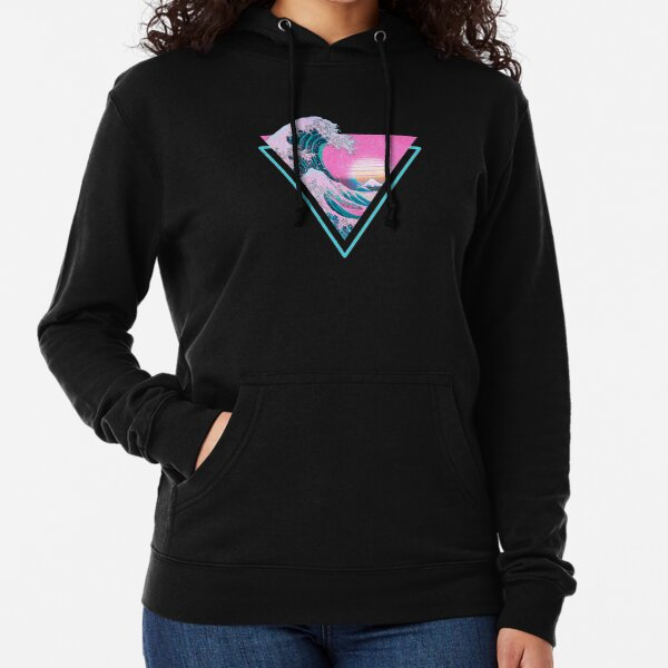 Vaporwave Aesthetic Great Wave Retro Triangle Lightweight Hoodie