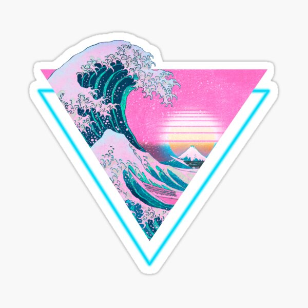 Vaporwave Aesthetic Great Wave Retro Triangle Sticker