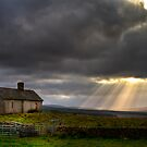 Barn and sunbeams by Gabor Pozsgai