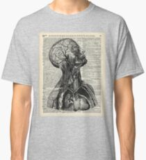 Medical Human Anatomy Illustration Over Old Book Page Classic T-Shirt