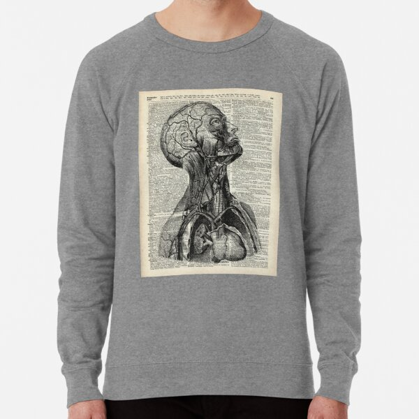 Medical Human Anatomy Illustration Over Old Book Page Lightweight Sweatshirt