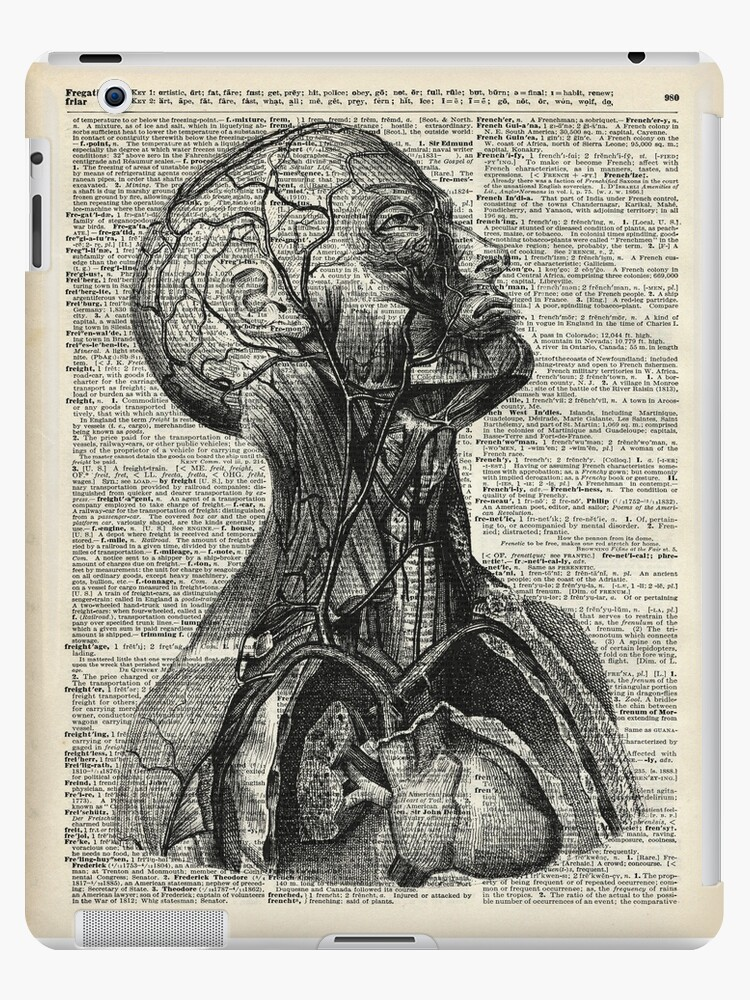 Medical Human Anatomy Illustration Over Old Book Page Ipad Cases