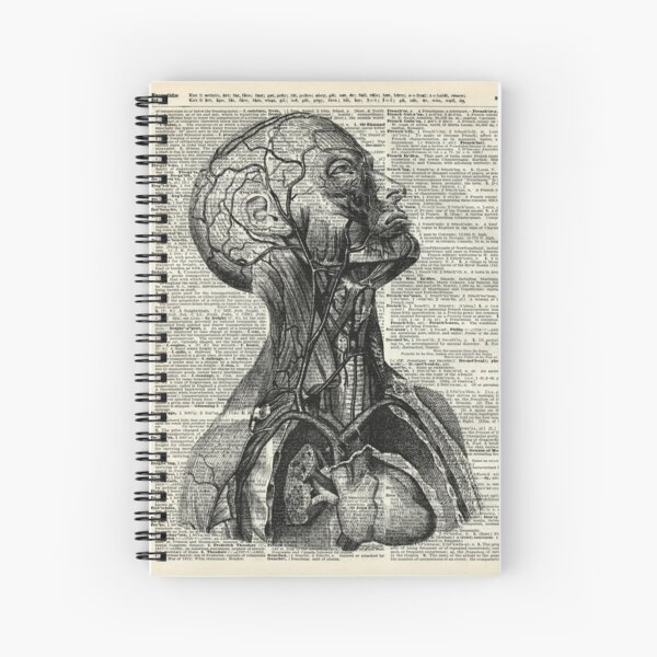 Medical Human Anatomy Illustration Over Old Book Page Spiral Notebook