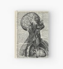 Medical Human Anatomy Illustration Over Old Book Page Hardcover Journal