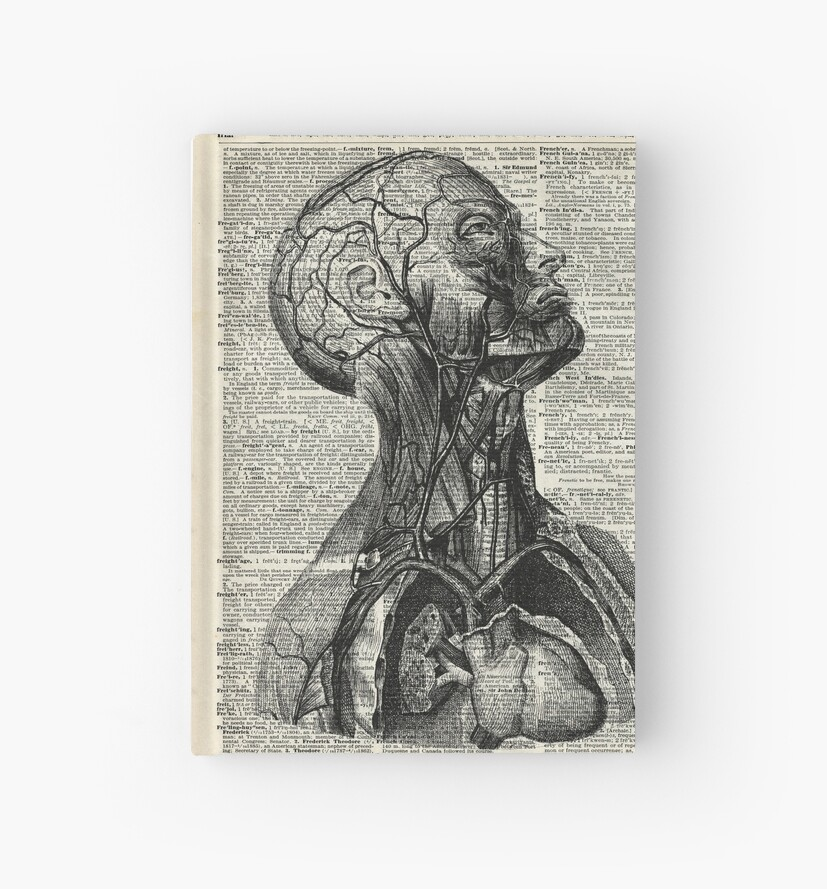 Medical Human Anatomy Illustration Over Old Book Page Hardcover