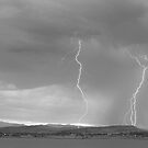Colorado Rocky Mountains Foothills Lightning Strikes 2 BW by Bo Insogna