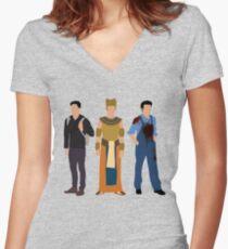 Rami Malek Tailliertes T-Shirt mit V-Ausschnitt