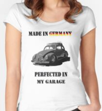 Made in Germany perfected in My Garage bug B&W Women's Fitted Scoop T-Shirt