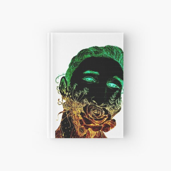 Beard flower, flower on mouth, kiss rose, sketch, handsome, guy, trending, bouquet, orange green, first kiss, first crush, awkward, popular, famous, best selling, top selling, highly recommended Hardcover Journal