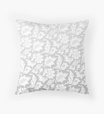 Floral Monochrome Relief Light White - 3D effect 2020 Throw Pillow