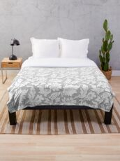 Floral Monochrome Relief Light White - 3D effect 2020 Throw Blanket