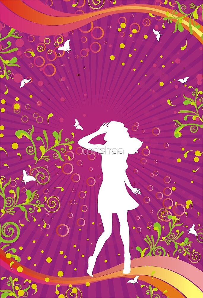 Girl silhouette on floral background  by torishaa