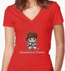 Martial Arts/Karate Boy - Bodyguard (gray font) Women's Fitted V-Neck T-Shirt