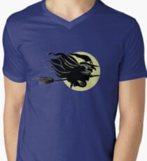 Flying Witch On Broomstick With A Big Moon Mens V-Neck T-Shirt