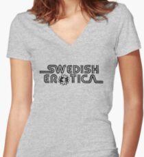 Schwedische Erotik Tailliertes T-Shirt mit V-Ausschnitt