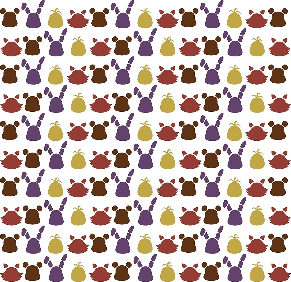 Bear, bunny, chick and fox pattern -white- by CoyoDesign