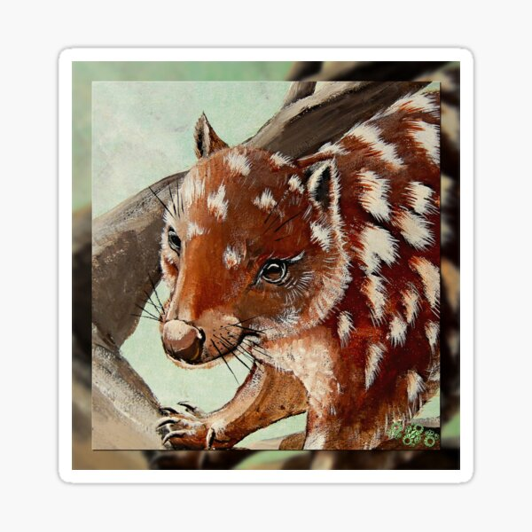 MICRO TALE ~ CRITTERS ~ GALERIEBORD ~ Lucky the Quoll by tasmanianartist 210120 Sticker