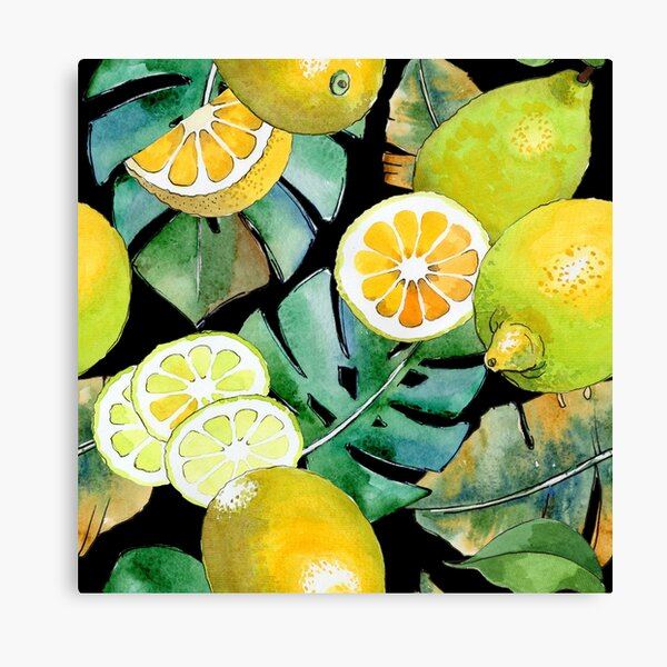 Citrus Fruit on Black Canvas Print