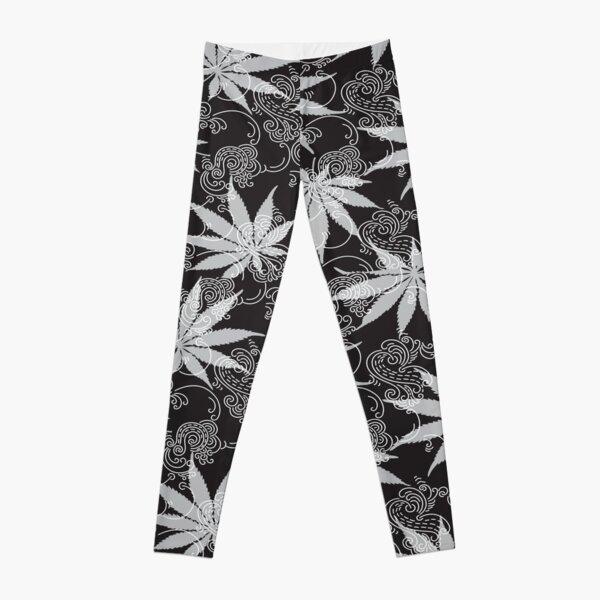 Black and White Flower Weed Leggings