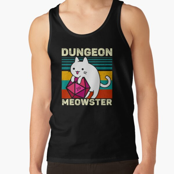 Dungeon Meowster Funny DnD Gamer Cat D20 Tank Top