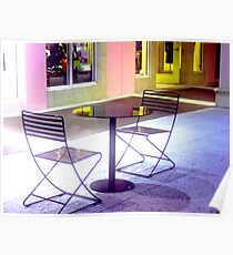 Empty Sidewalk Cafe Table Poster
