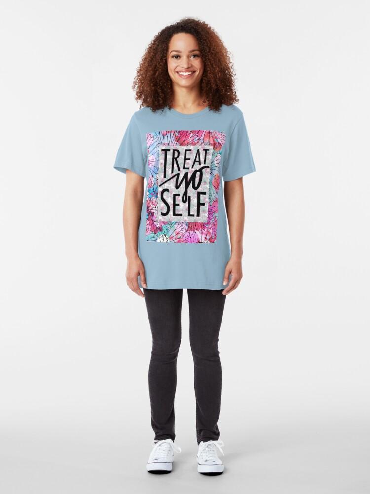 Alternate view of Treat Yo Self Parks and Recreation  Slim Fit T-Shirt
