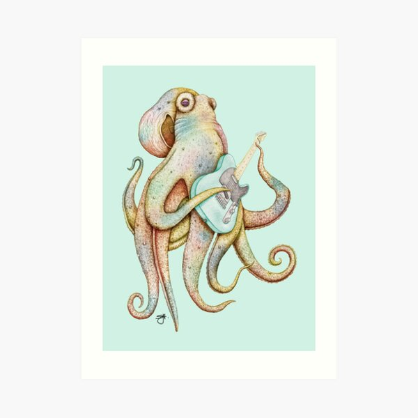 POLAH - the axe wielding Octopus (on Aqua) Art Print