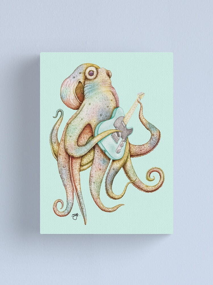 Alternate view of POLAH - the axe wielding Octopus (on Aqua) Canvas Print