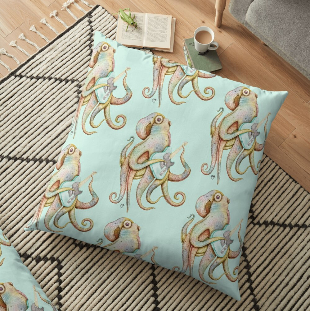 POLAH - the axe wielding Octopus (on Aqua) Floor Pillow