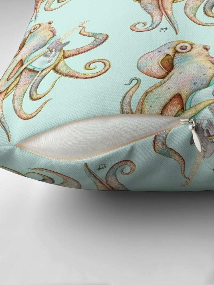 Alternate view of POLAH - the axe wielding Octopus (on Aqua) Floor Pillow