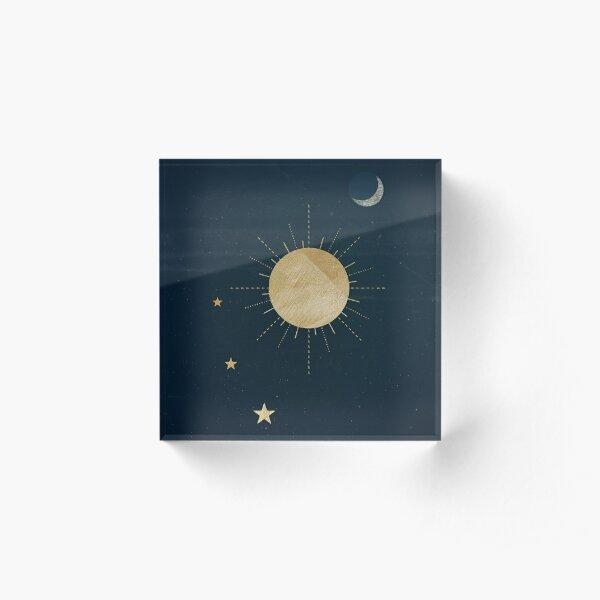 Moon, Sun, and Stars Acrylic Block