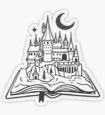 The castle out of the book - Drawing - B&W Transparent Sticker