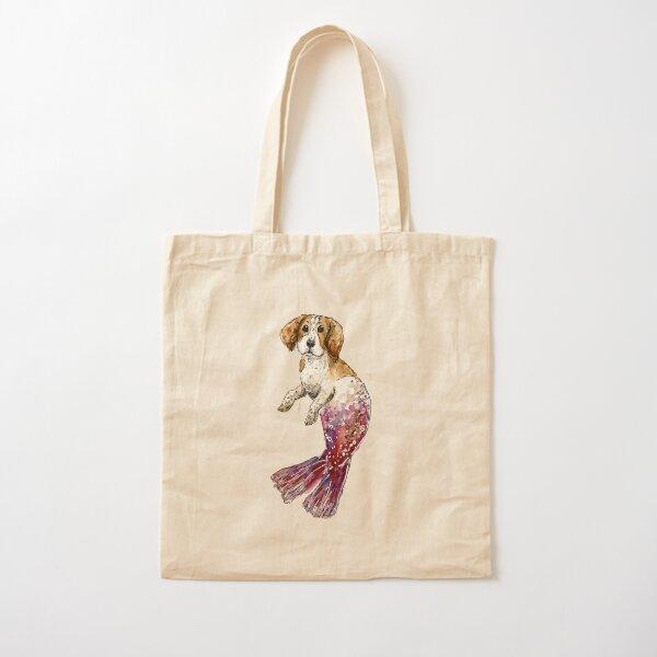 Beagle Dog Mermaid Watercolor Cotton Tote Bag