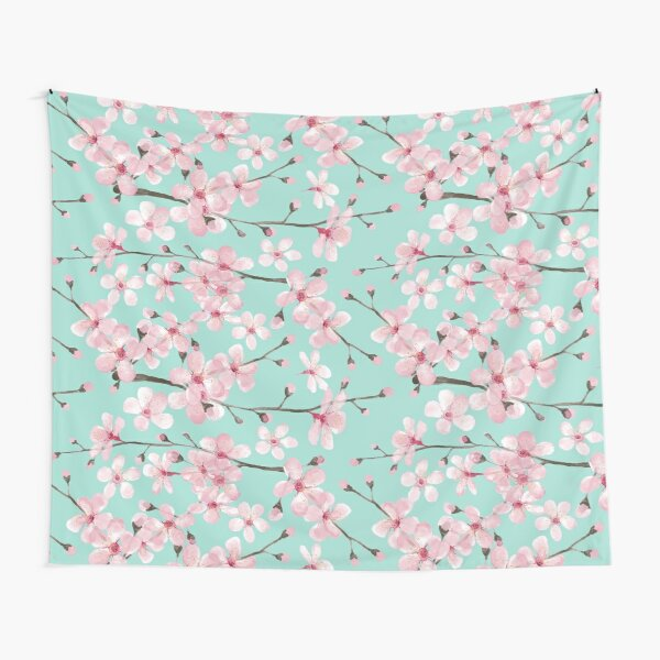 cherry blossom on mint, pink cherry blossom watercolor Tapestry